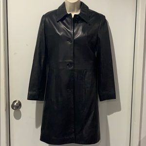 NEIMAN MARCUS Black Leather Trench Coat-Small
